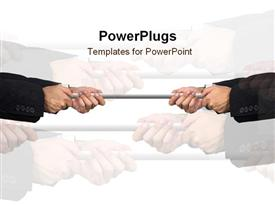 PowerPoint template displaying hands pulls on rope