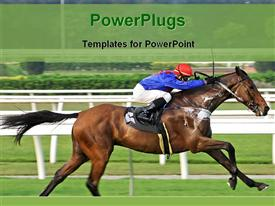 Horse racing in race course powerpoint design layout