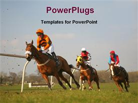 Horses are racing at race course powerpoint theme