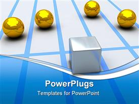 Illustration with competition of gold spheres and steel cube powerpoint template