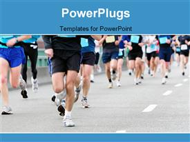 PowerPoint template displaying athletics event with close-up of runners in race track