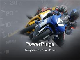 PowerPoint template displaying motor bike racing in the background.