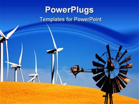 PowerPoint template displaying old vs. new windmill. Always someone younger and stronger at your back to take your job in the background.