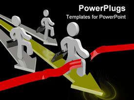 PowerPoint template displaying three business people running with briefcases cross the finish line