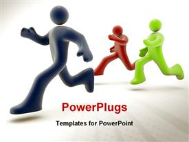 PowerPoint template displaying three dimensional computer generated graphic and depiction in the background.