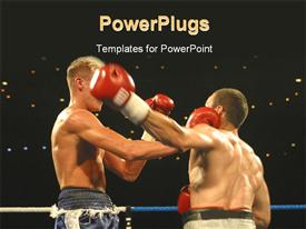 PowerPoint template displaying two boxers go toe to toe in the ring