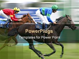 Two horses racing at speed with blurred background template for powerpoint