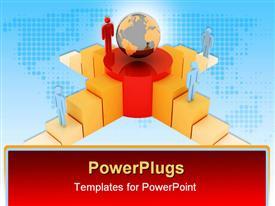 PowerPoint template displaying a globe along with a number of people on different levels