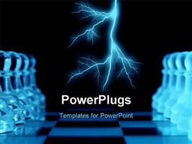 PowerPoint template displaying a number of chess pieces but lightning in the background