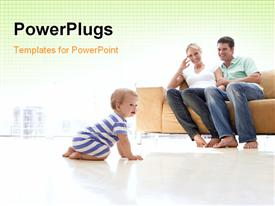 PowerPoint template displaying a family happy to see their kid and yellowish background