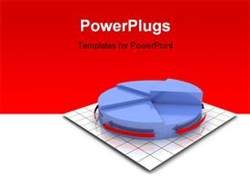 PowerPoint template displaying 3D rendering of pie chart on grid lines with red and white background