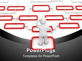 PowerPoint template displaying man confused thinking about complicated red and white diagram