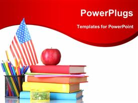 PowerPoint template displaying learning depiction with red apple on book pile and pencils in cup