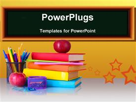 PowerPoint template displaying a number of books and color pencils with apples