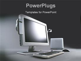 PowerPoint template displaying advance multimedia computer system with flat monitor in the background.
