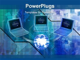 PowerPoint template displaying blue computers connected cyber data business in the background.