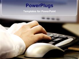 PowerPoint template displaying close-up of a man's hand typing at a computer keyboard in the background.
