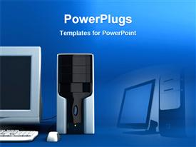 PowerPoint template displaying computer in blue background