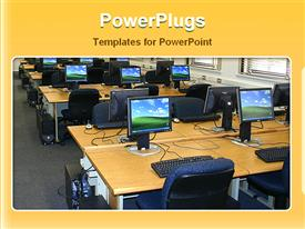 PowerPoint template displaying office with desks, chairs and desktop computers turned on