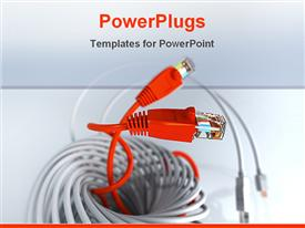 PowerPoint template displaying computer Network Cable 3D modeling photorealistic render in the background.