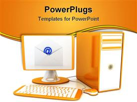 PowerPoint template displaying computer over white background