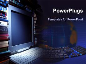 PowerPoint template displaying a beautiful depiction of a keyboard and a screen along with globe in the background