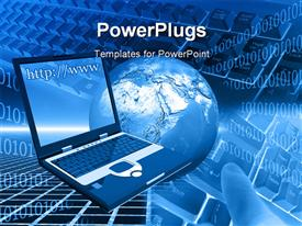 PowerPoint template displaying computer world and keyboard internet and communication earth and laptop keyboard and computer in the background.