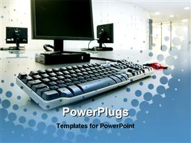PowerPoint template displaying computers on a desktop in a modern office building in the background.