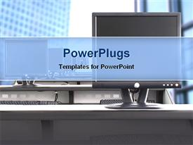 PowerPoint template displaying computers in a room in the background.