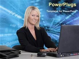 PowerPoint template displaying corporate lady with laptop in the background.