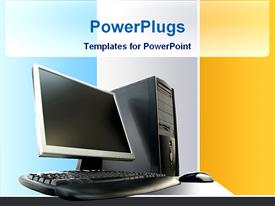 PowerPoint template displaying desktop computer in the background.