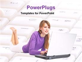 PowerPoint template displaying girl working with laptop laying on keyboard in the background.