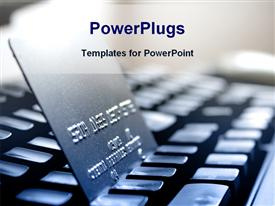 PowerPoint template displaying gray credit card over black keyboard illustrating the internet shopping concept in the background.
