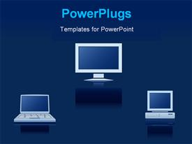 PowerPoint template displaying icons of the digital equipment on blue