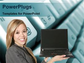 PowerPoint template displaying lady showing laptop in the background.