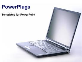 PowerPoint template displaying laptop in the background.