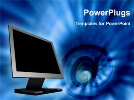 PowerPoint template displaying laptop beside blue background
