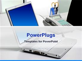 PowerPoint template displaying laptop computer depiction on the office table in the background.