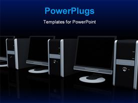 PowerPoint template displaying from a line of computers in the background.
