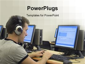PowerPoint template displaying multiple desktop computers monitors keyboards and mouse on desk with man wearing headphones working on a computer