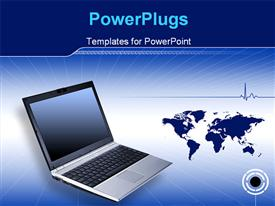 PowerPoint template displaying note Book and laptop technology working Header regarding technology and communication in the background.