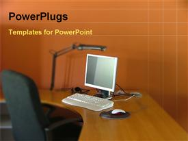 PowerPoint template displaying in a office room computer in a table with chair in the background.