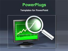 PowerPoint template displaying magnifying glass focused on upward pointing green arrow of graph on computer screen