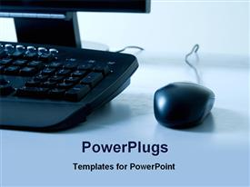 PowerPoint template displaying cool view of a computer keyboard and mouse on light blue background