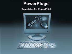 PowerPoint template displaying web computer on a desk in the background.