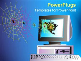 PowerPoint template displaying depiction with personal computer and web in the background.