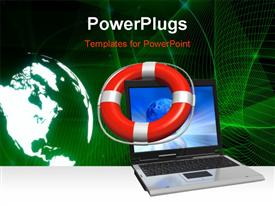 PowerPoint template displaying laptop with red lifesaver in the background.
