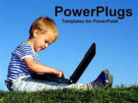 PowerPoint template displaying young boy with a laptop