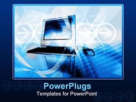 PowerPoint template displaying abstract Background Depiction of Computer and Internet Connection