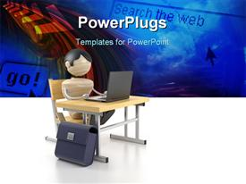 Boy sits at the computer. 3D model powerpoint design layout